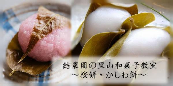 すでに定員間近!【4/22(土)】結農園の里山和菓子教室 ~桜餅・かしわ餅~