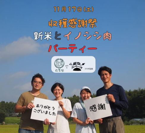 【11/17(土)】結農園x星空スペース 収穫感謝祭 新米とイノシシ肉パーティー