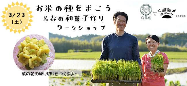 【3/23(土)】結農園x星空スペース お米の種をまこう&春の和菓子づくりWS